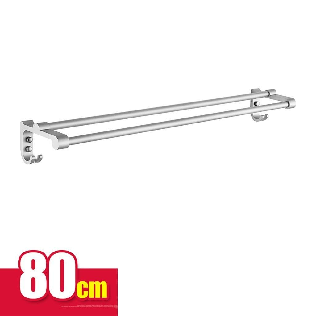 EQEQ Bath Room Towel Rack Towel Rack Aluminum Double Bar Towel Rack Bath Rooms Towel Holder Perforated Towel Storage Rack (Size: 80 cm).