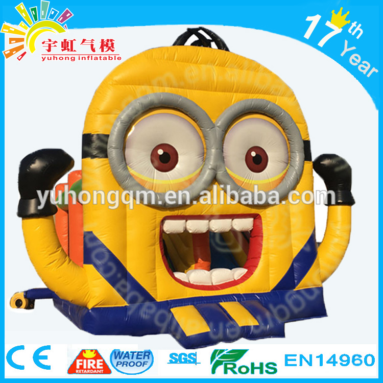 2016 hot giant yellow minion inflatable kids pvc tarpaulin bouncy house jumping castle