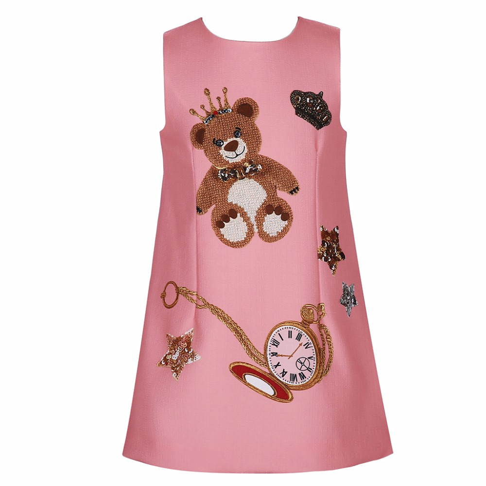 New Arrival Sweet Enfant bear Printed Dress Baby Frocks Party Wear