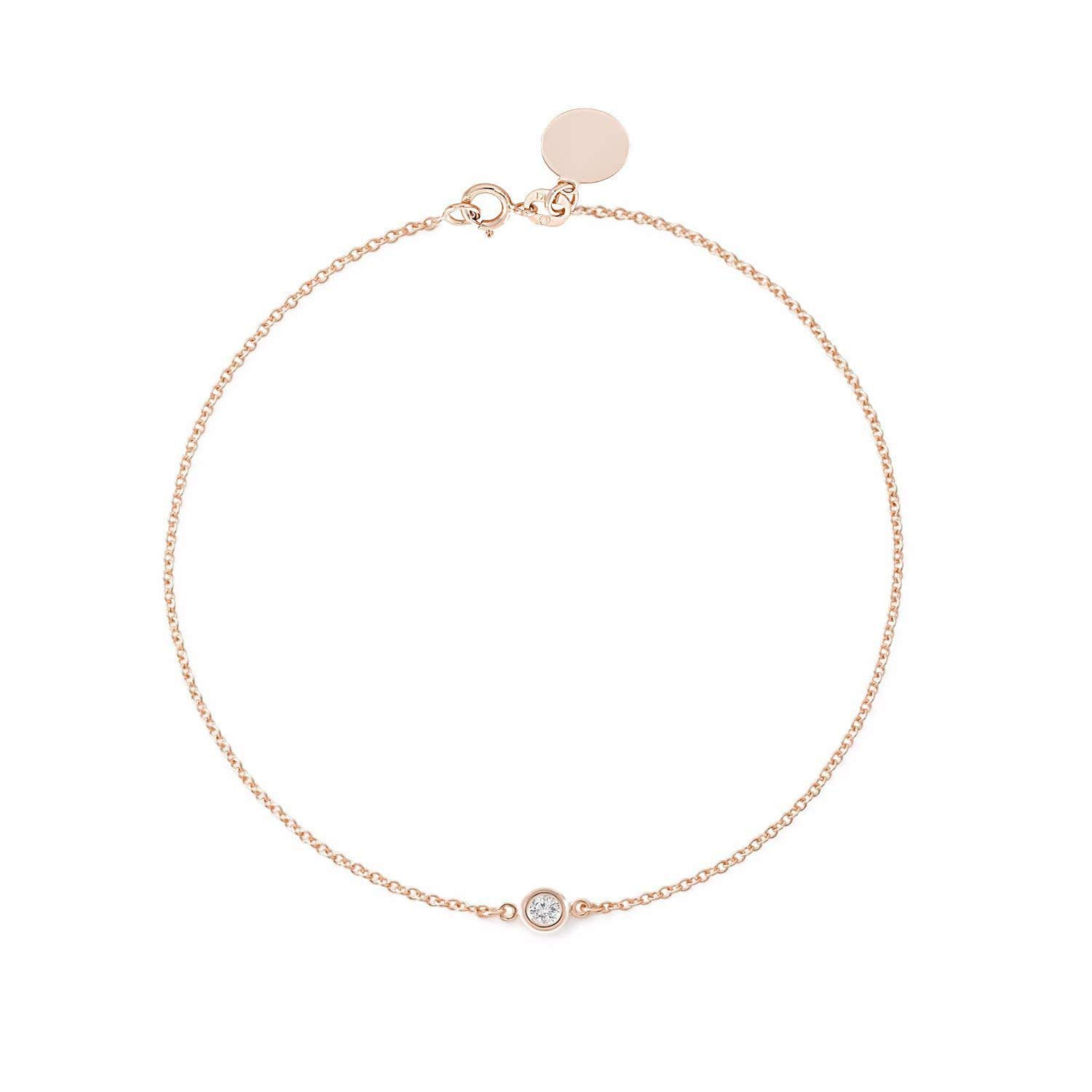 f4fd89649 Get Quotations · TousiAttar Solitaire Diamond Bracelet- Solid Rose Gold-14K  or 18K - Dainty and Simple