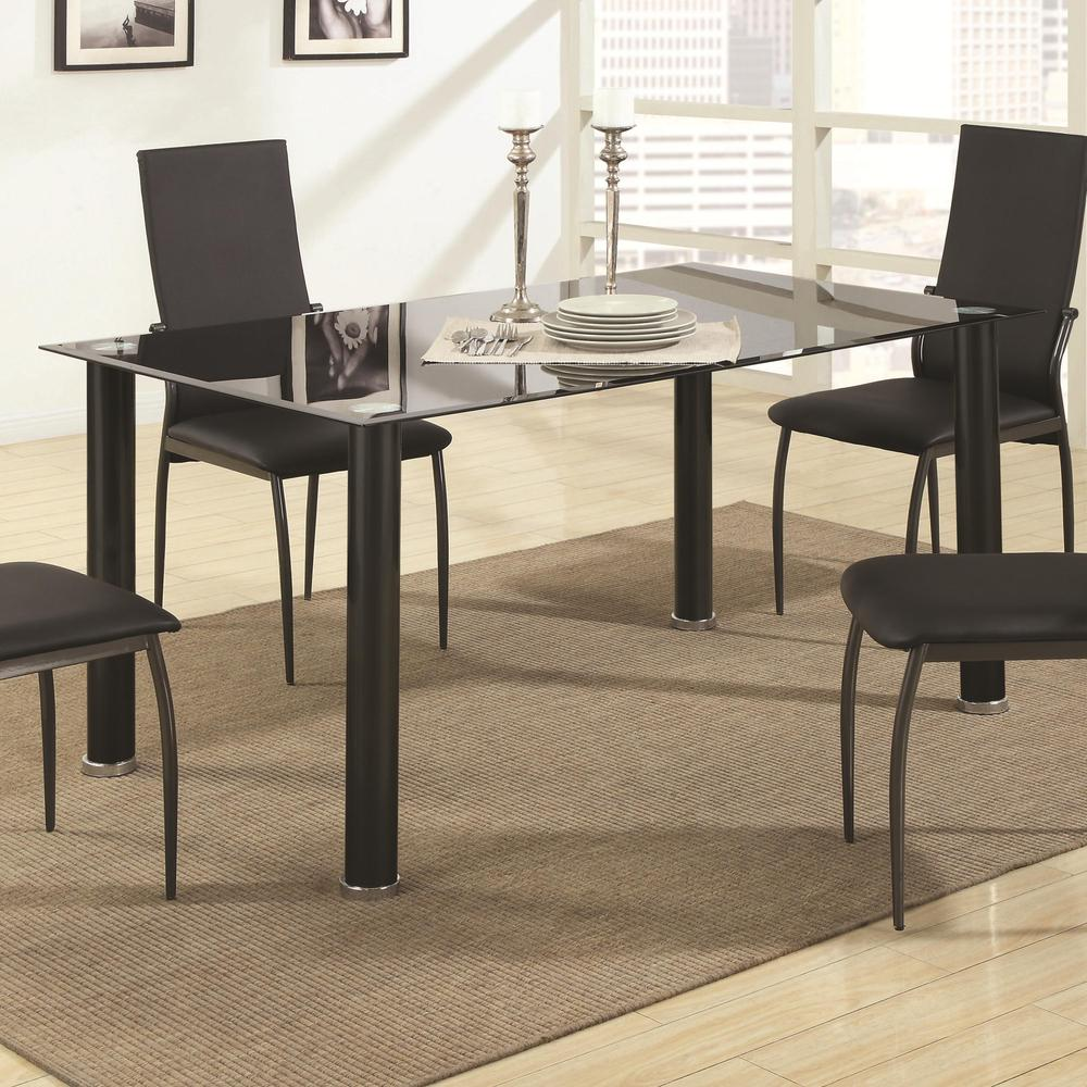 Cheap Dining Table With Chairs: Cheap Metal Glass Dining Table And Six Chairs