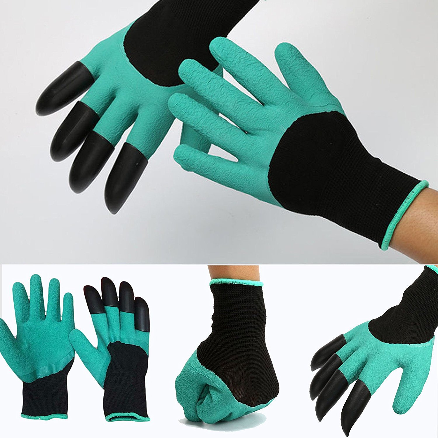 USA Genie Garden Gloves Digging&Planting with4 ABS Plastic Claws Gardeni
