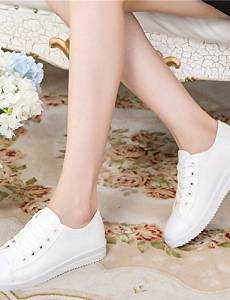 AIU Women's Shoes Canvas Flat Heel Comfort/Round Toe Fashion Sneakers/Athletic Shoes Outdoor/Athletic/Casual Black/White