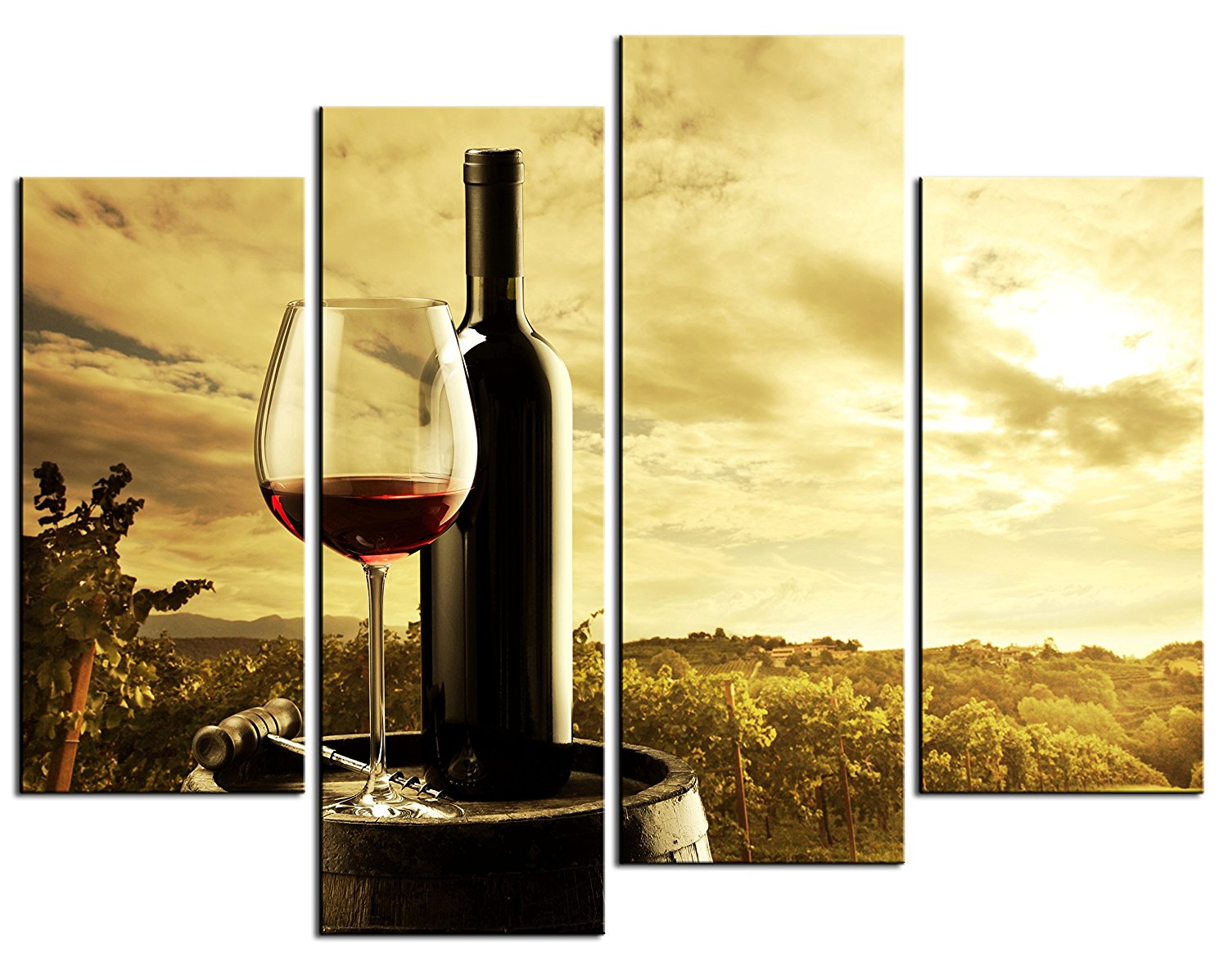 Buy 4 Piece Wall Art red wine red cheers congratulations for dinner ...