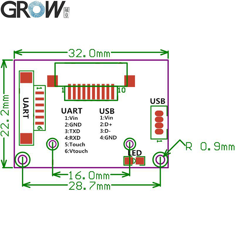 GROW R303T FPC1020 Chip Small Integrated Circuits for Fingerprint Module Sensor With 1000 capacity