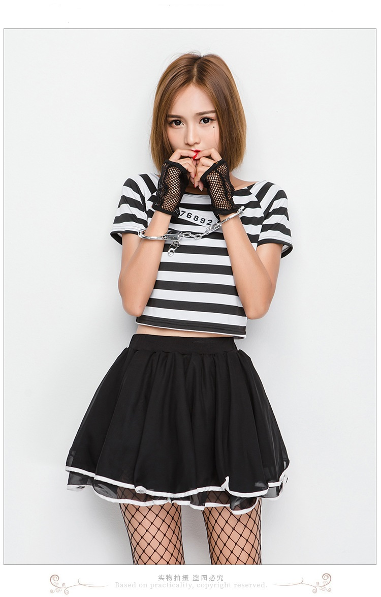 striped prisoner costume fancy dress cosplay costume halloween costume women