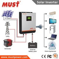 Hybrid Solar Power Inverter Dc 24v To Ac 220v 2kva 3kva 4kva 5kva