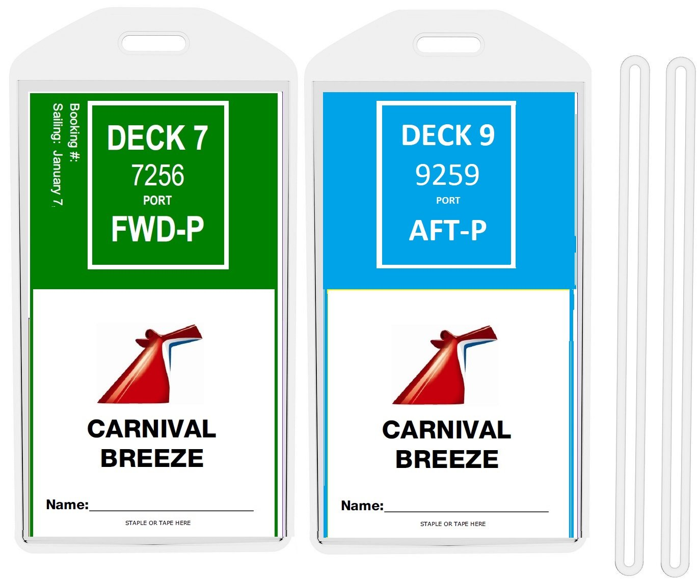 8 Pack Cruise Ship Luggage Tags (Wide) for PRINCESS, CARNIVAL, COSTA, HOLLAND AMERICA, P&O, and NORWEGIAN by Easy Read Register