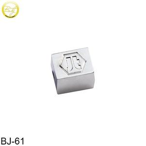 Zinc Alloy Custom Engraved Metal Logo Beads Charm Bracelet Beads for Gift