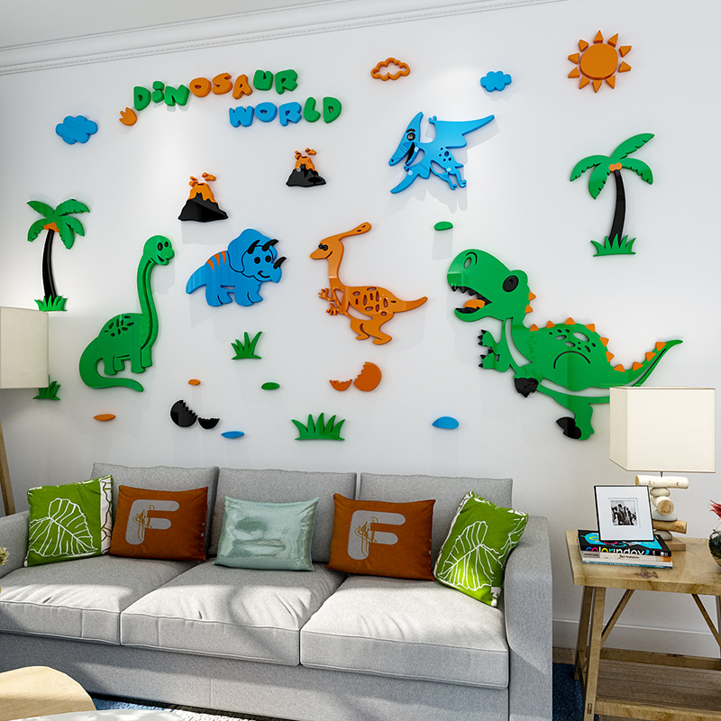 Kids Room Decor Dinosaur Wall Stickers For Kindergarten Nursery Decoration