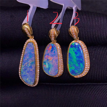Australia colorful gemstone jewelry with factory price 18k gold natural opal gemstone necklace pendant for women