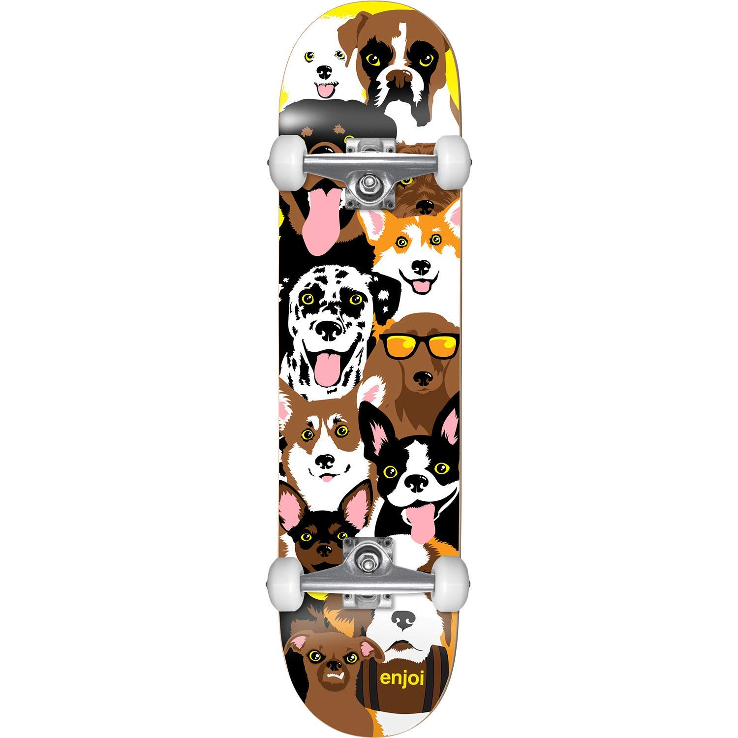 "Enjoi Skateboards Dog Collage Mid Complete Skateboards - 7.37"" x 29.8"""