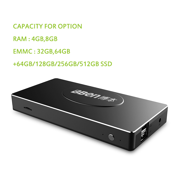 Smart portable pc stick Apollo N3450 mini box pc with 8gb ram 256GB SSD 4K linux mini embedded box pc