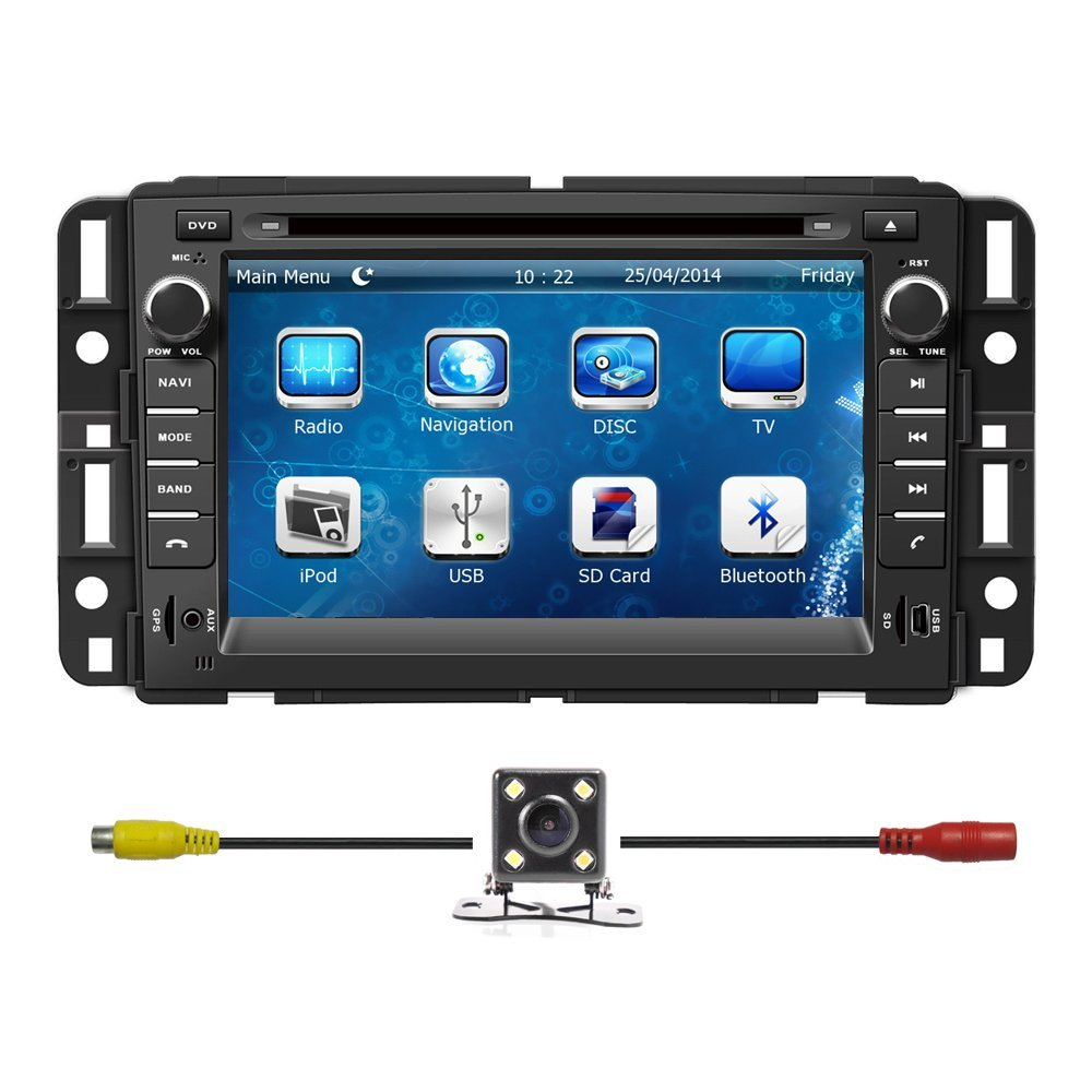 "BlueLotus® for GMC Yukon 2007-2014/ GMC Acadia 2007-2012/ Chevrolet Tahoe 2007-2014/ Buick Enclave 2008-2012/ Chevrolet Suburban 2007-2014 In-dash 7"" Touchscreen DVD Player GPS Navigation Tv Radio Bluetooth Steering Wheel Control RDS Sd/usb Ipod Av + Reverse Car Rear Camara + Free USA Map"