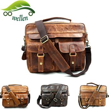 Wellen Bag Mens Genuine Leather Messenger Bags Brown Satchel