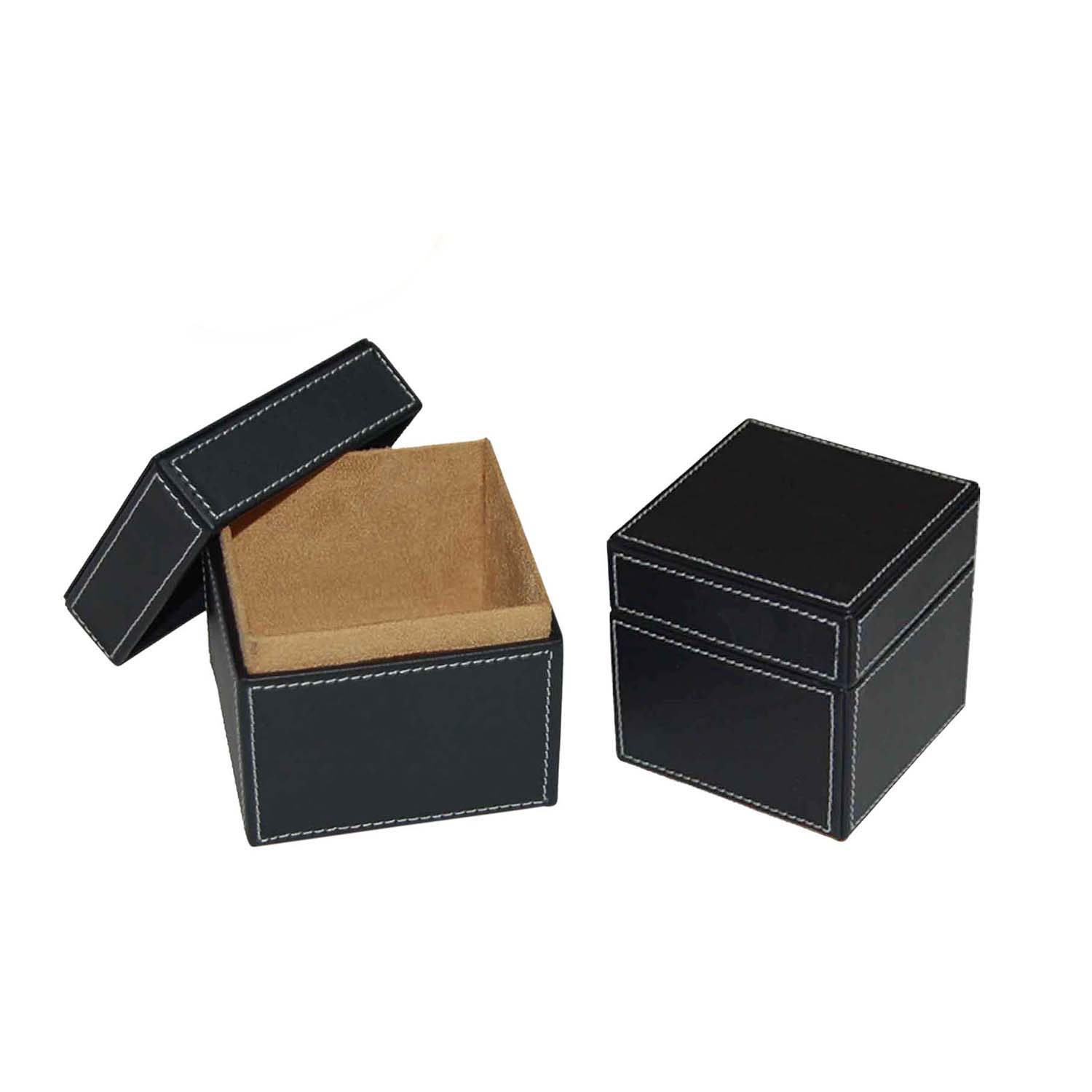 Professional factory custom printed logo  black leather packaging gift box
