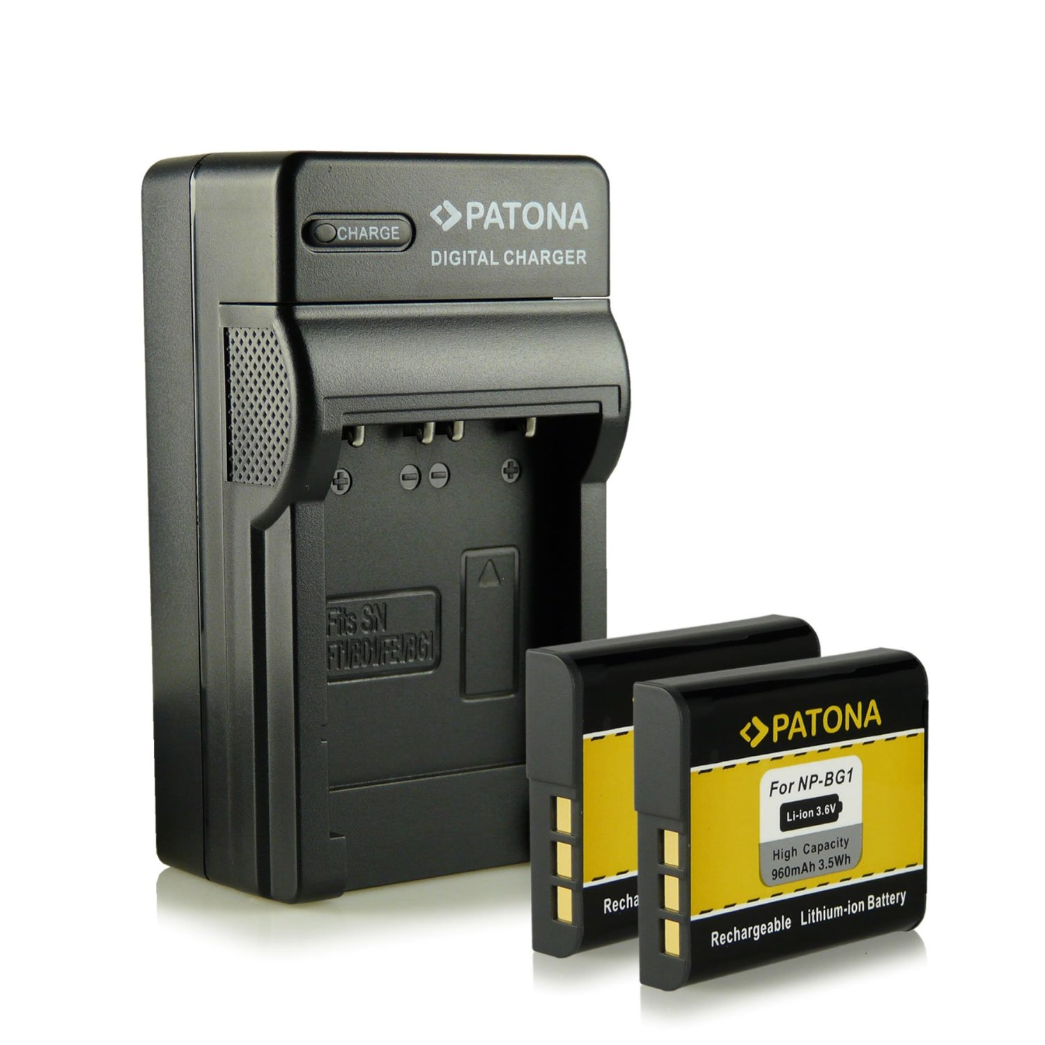 Bundle - 4in1 Charger + 2x Battery Sony NP-BG1 with Infochip · 100% compatible with Sony CyberShot DSC-H3 | DSC-H7 | DSC-H9 | DSC-H10 | DSC-H20 | DSC-H50 | DSC-H55 | DSC-H70 | DSC-H90 | DSC-HX5V | DSC-HX7V | DSC-HX9V | DSC-HX10V | DSC-HX20V | DSC-W30 | DSC-W35 | DSC-W40 | DSC-W50 | DSC-W55 and