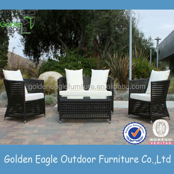 indoor outdoor garden rattan wicker sofa set Patio sofa with cushion