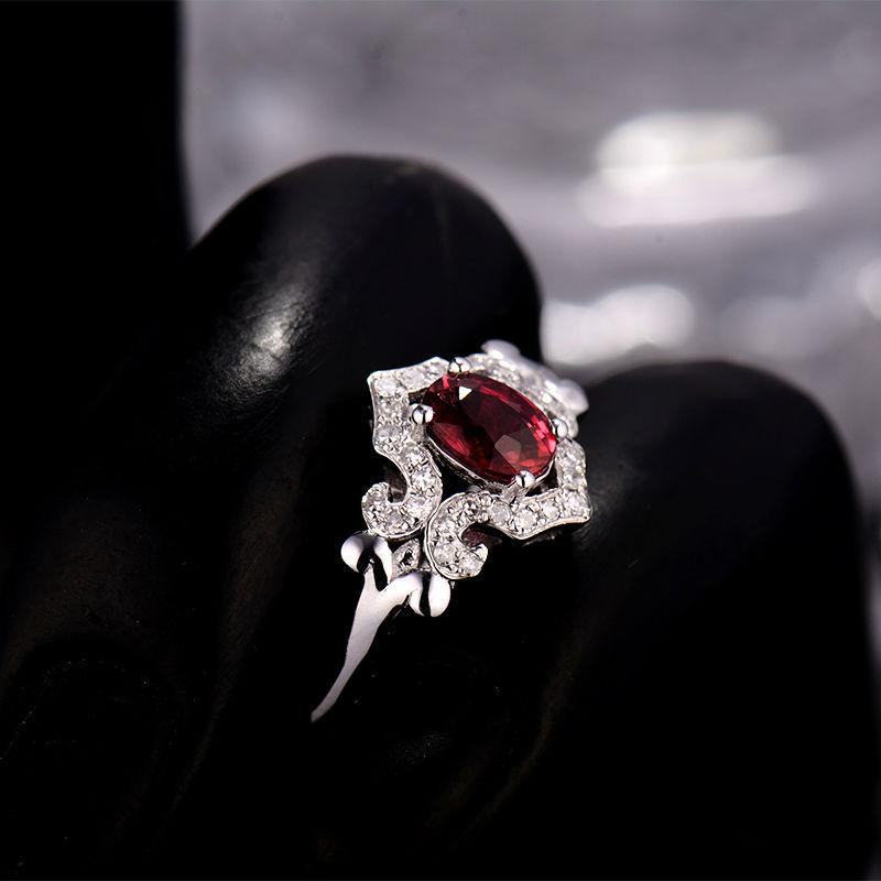2ea2b9d7256 Anel de Rubi Vermelho clássico 18Kt Ouro Branco Natural de Noivado de Diamante  Anel de Presente