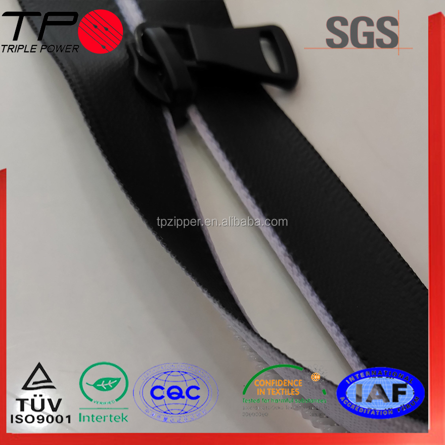 "TP colorful TPU&PVC waterproof 12"" ykk zippers copper zipper parts"