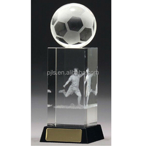 Personalised Engraved Crystal Glass 3D football Trophy Award Prize Gift