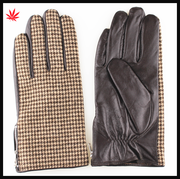 men's winter warm grid cloth and leather gloves with zipper