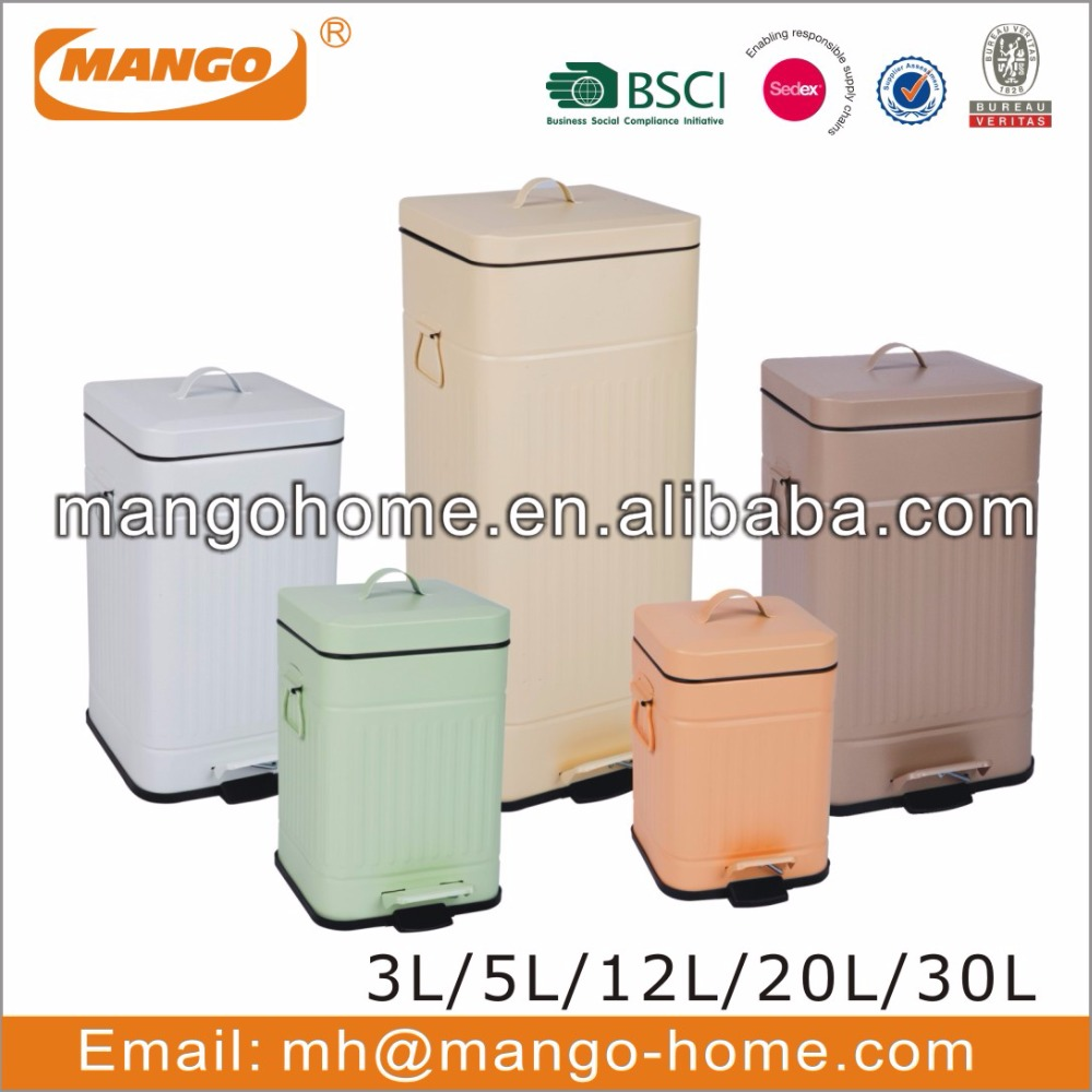 Colorful Powder Coating Metal Ribs Pedal Trash Can
