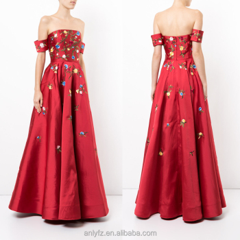 In Red Floral Evening Dresses