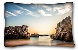 "Generic Children's Nature Beaches sea beach rocks sun sunrise morning sky clouds 20""X30"""