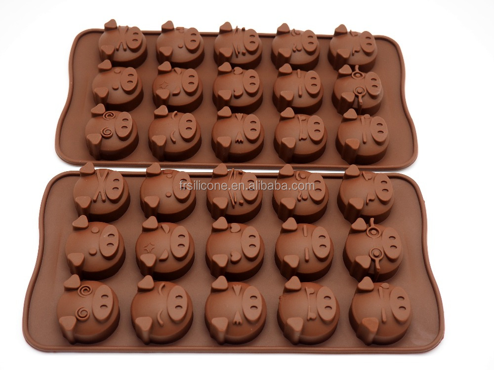 Popular Cake Decoration Mould, Fondant Chocolate tray <strong>silicone</strong>, pig mold chocolate tray