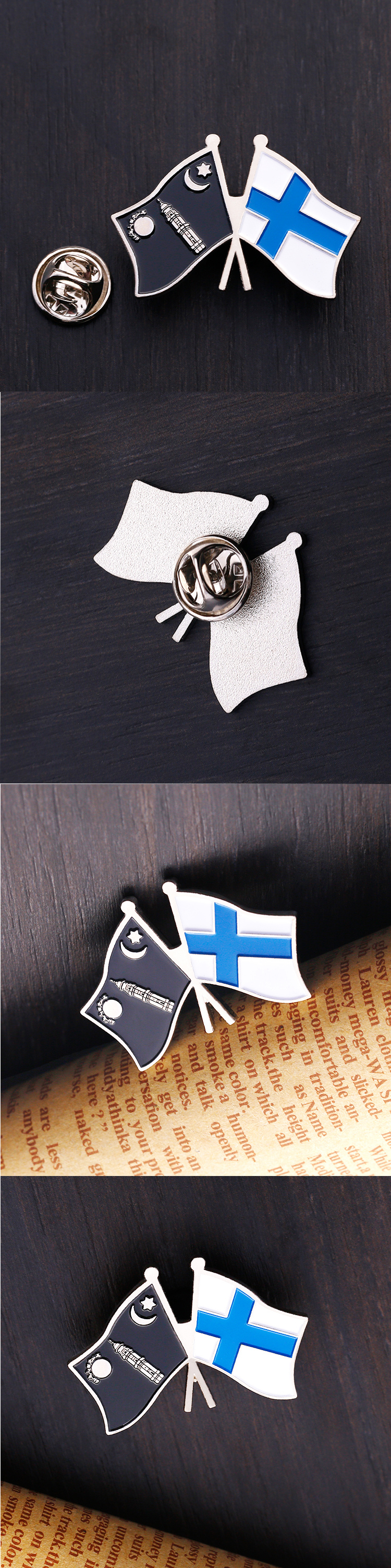 Factory supply directly double flags soft enamel souvenir metal lapel pins