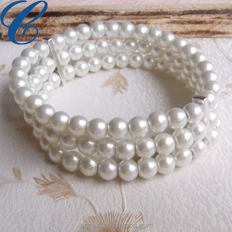 Imitation Fake Pearl Bracelet Whole Bulk Custom Oversea High Quality White