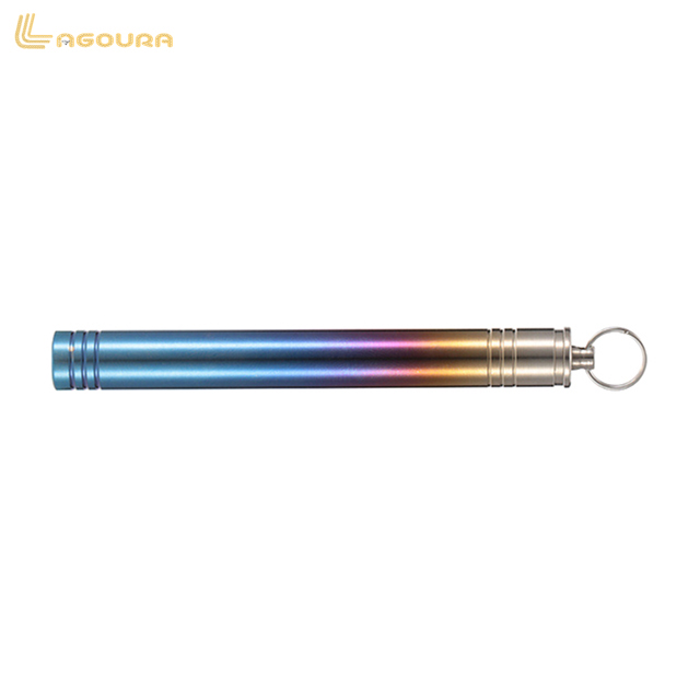 Pure titanium burning blue sealed tube tableware toothpicks extinguishers with portable hook