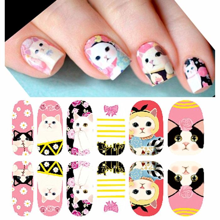see details 1 set 12 strips press fashion jetoy choo cat series 3d wrap nail art