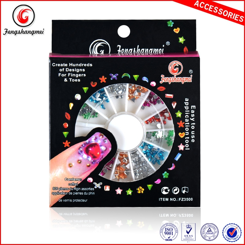 Mixed Pearl/Rhinestone/Fimo Nail Art 3D Acrylic Decoration Round Wheel