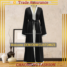 1507# Black Embroidery Baju Kurung Malaysia Fashion Modern Wholesale Dubai Kimono Front Open Abaya 2017