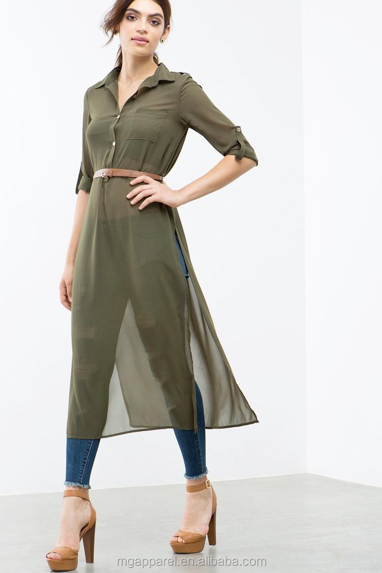 6aa57e4a99bfc ladies tunic top wholesale long chiffon women tunic side slit plain tunic  tops long
