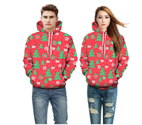 2018 new one delivery Christmas tree print with pocket hooded sweater DW-75