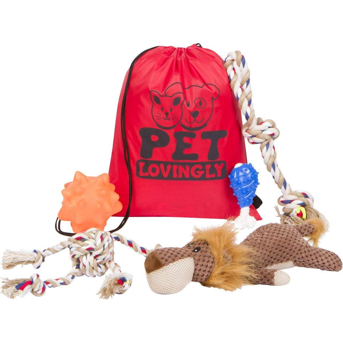 Pet Lovingly Dog Toys Set For Medium To Large Sized Doggies – Durable & Pet-Friendly Design For Big & Energetic Dogs, Heavy Duty Chew & Squeaky Toys, Reduce Boredom & Promote Indoor/Outdoor Exercise