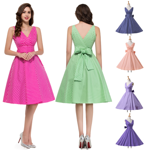 Get Quotations · 2015 New Fashion Summer Casual Retro 50s 60s Polka Dot  Print Pinup Rockabilly Vintage Prom Swing 8002504f0e82