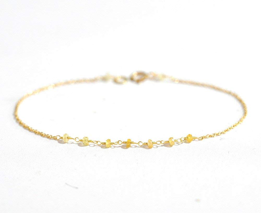 18K Gold. Yellow Sappihre Bracelet in 18KYG , Natural Sapphire Delicate Gold Bracelet, September Birthstone Jewelry, Gift for Her
