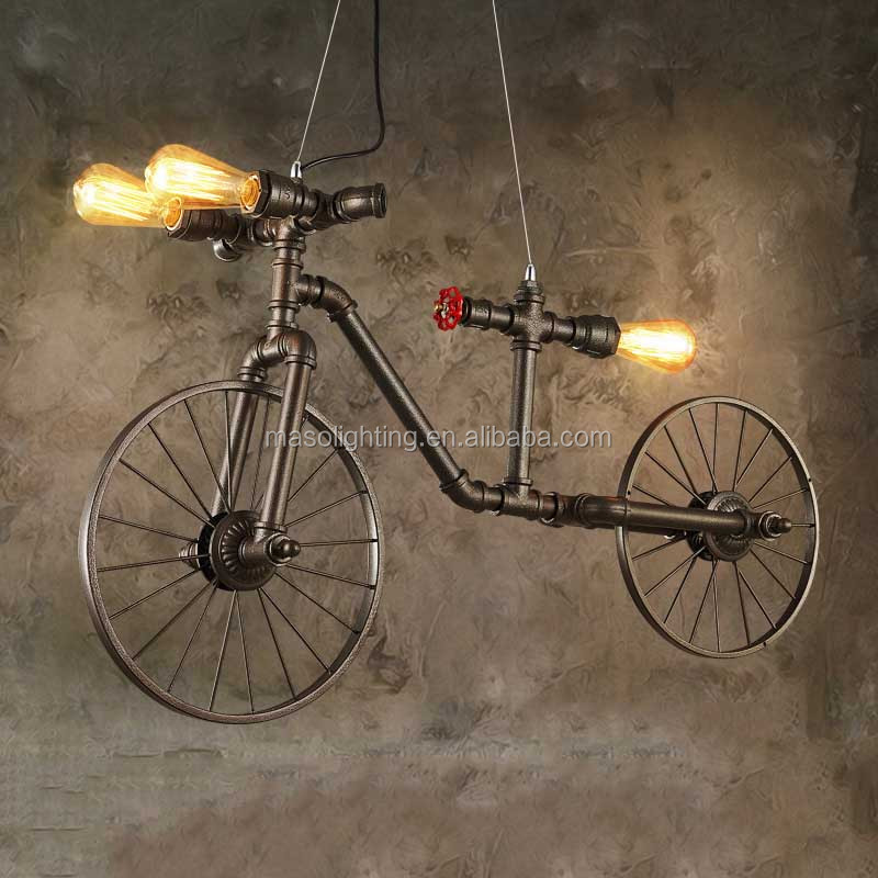 2017 Loft Vintage Wall Lamp/Pendant light Dimmable Water Pipe Light Edison Bulb Hanging Decorative Bicycle Lamp MS-P6103