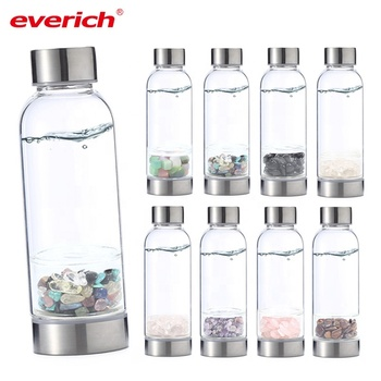 Wholesale High Borosilicate 1 Liter Glass Water Bottle With Custom Crystal Quartz Elixir Infused Glass Bottle Manufacturer