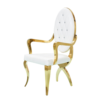 Gold Frame Wedding Chair Furniture Banquet Hall Round Back Chair With Armrest Stainless Steel Hotel Dining Chairs
