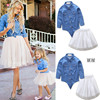 New 2018 European mother and daughter matching outfits with Denim Coat+tutu Dress 2 Pcs
