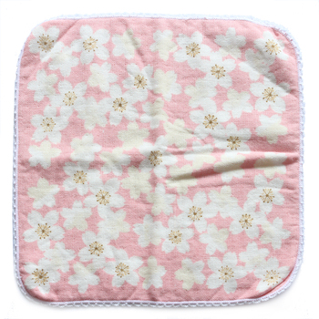 custom print cotton gauze muslin square hand towel children baby towel China factory
