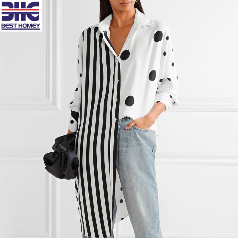 Women's black and white silk blend stripes polka dots design oversized printed satin shirt spring long sleeves blouse for ladies