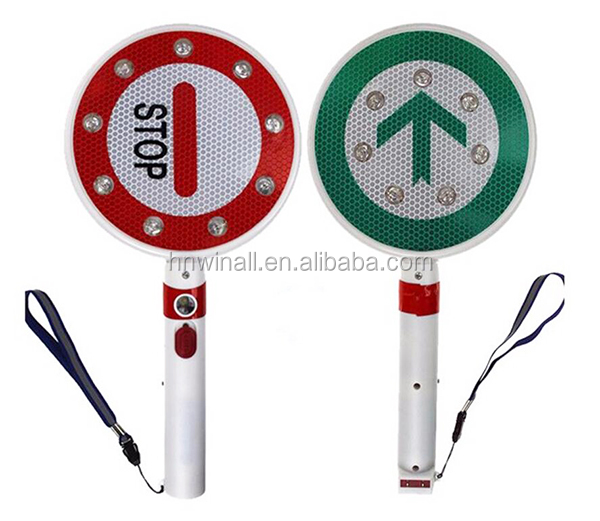 New hand-held police stop sign flashing caution traffic signs