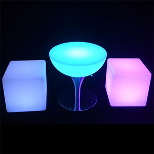 high chair for bar table/outdoor garden furniture PE plastic led light up bar table chair
