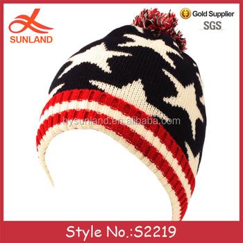c09521dda891c S2219 custom American national flag ski hats knitted bobble hats pom winter  beanies